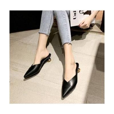 サンダル レディース ヒール 夏 歩きやすい 履きやすい 新品 黒 ローヒール スリッパ つっかけ 疲れない カジュアル 可愛い 美脚 大人 女性 ポインテッドトゥ