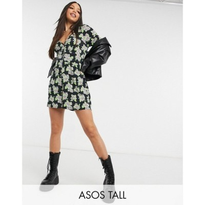 エイソス ASOS Tall レディース オールインワン プレイスーツ ワンピース・ドレス Tall Button Front Playsuit In Spaced Floral Print
