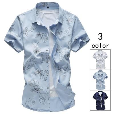 半袖シャツ 50代ファッション メンズ アロハシャツ カジュアルシャツ 花柄シャツ トップス 2019 新作 大きいサイズ