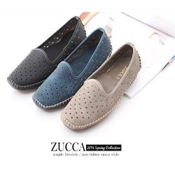 ZUCCA【Z6001】縷空車線氣墊平底包鞋-黑色/藍色/灰色