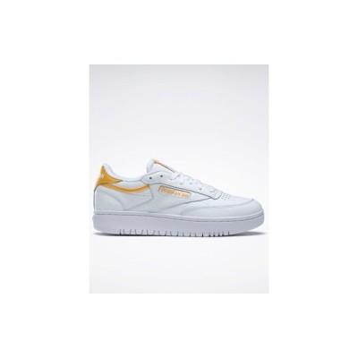 リーボック レディース スニーカー シューズ Reebok Club C Double sneakers in white with yellow details White