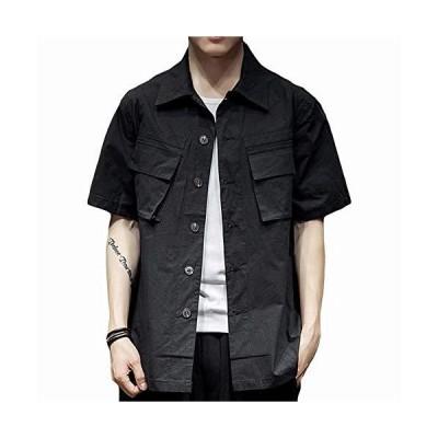 YIMANIE メンズ 半袖シャツ カジュアルシャツ 夏服 ボタンダウンカラー 綿 100% オックスフォードシャツ 2つポケット付き ヴィンテージ