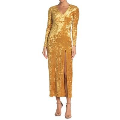 ベルベットトーチ レディース ワンピース トップス V-Neck Velvet Maxi Dress GOLD