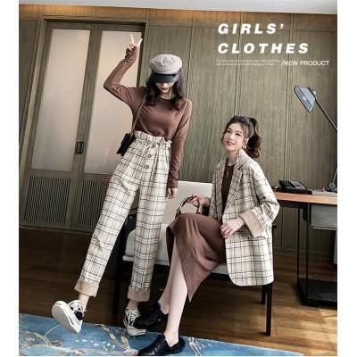 超目玉■新品 魅力を引き立せる2点セット 女性服  合わせやすい レトロ風 チェック柄 ブレザーコート、チェック柄 カジュアルパンツ、 Tシャツトップス、人気新商品 レディース セットアップ