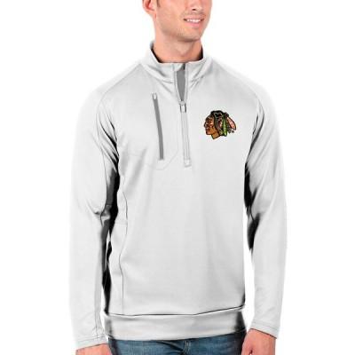 シカゴ・ブラックホークス Antigua Generation Quarter-Zip Pullover ジャケット - White/Silver