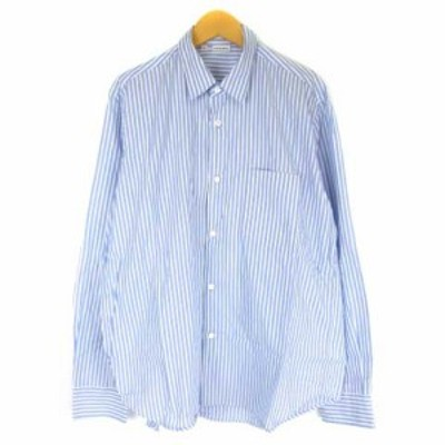 【中古】ケンペル KEMPEL シャツ ストライプ 長袖 ワイシャツ コットン ブルー ホワイト 46 メンズ