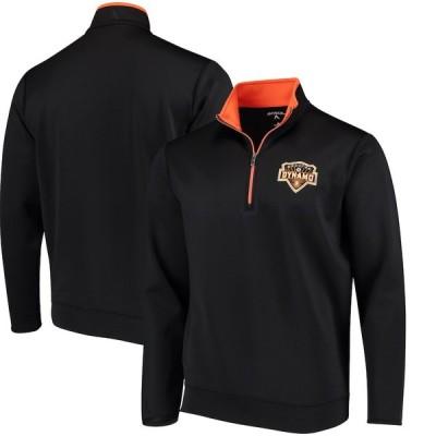 """メンズ ジャケット """"Houston Dynamo"""" Antigua Leader Quarter-Zip Pullover Jacket - Black"""
