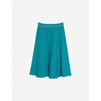 サンドロ SANDRO レディース ひざ丈スカート スカート Melia faux pearl-embellished high-waisted stretch-woven midi skirt GREEN