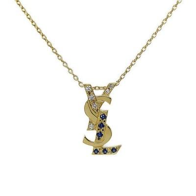 イヴサンローラン ダイヤモンド サファイア ロゴネックレス・ペンダント/K18YG/750-3.3g/0.05ct/0.09ct/Yves Saint Laurent /h210914/406476