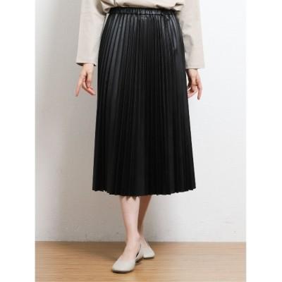 TAKA-Q / エムエフエディトリアルレディース/m.f.editorial:Women シンセティックレザーライク プリーツスカート WOMEN スカート > スカート
