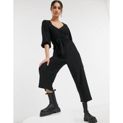 エイソス レディース ワンピース トップス ASOS DESIGN wrap front textured smock jumpsuit in black Black