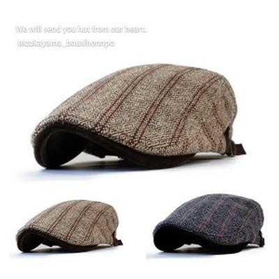 ハンチング メンズ 帽子 ゴルフ ラインジャガード トレンド 人気 おしゃれ 父の日 贈り物 プレゼント メンズ