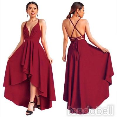 ワンピース Vネック ノースリーブ ロングドレス パーティードレス カラードレス イブニングドレス Aラインドレス 大きいサイズ 結婚式 二次会 演奏会 お呼ばれ
