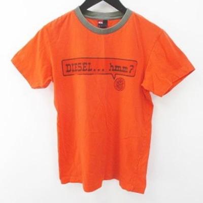 【中古】ディーゼル DIESEL 半袖 Tシャツ カットソー S オレンジ系 ロゴ 文字 プリント リブ 綿 コットン メンズ
