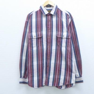 古着 長袖 フランネル シャツ 90年代 90s エディーバウアー コットン ロング丈 エンジ他 チェック XLサイズ 中古 メンズ トップス シャツ
