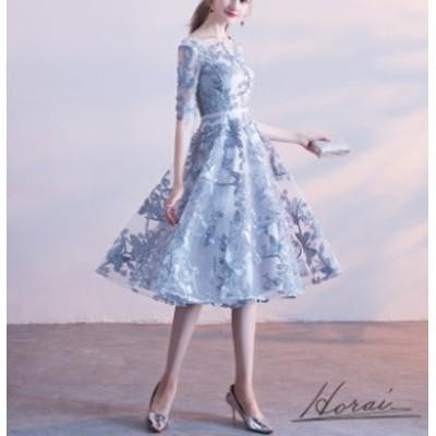 パーティードレス 結婚式 二次会 ワンピース ワンピースドレス 大きいサイズ 膝丈ワンピース 半袖 5分袖 レース 透け シアー レース 光沢