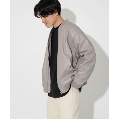 URBAN RESEARCH ITEMS/アーバンリサーチ アイテムズ ヴィーガンレザー MA-1ブルゾン GRY M