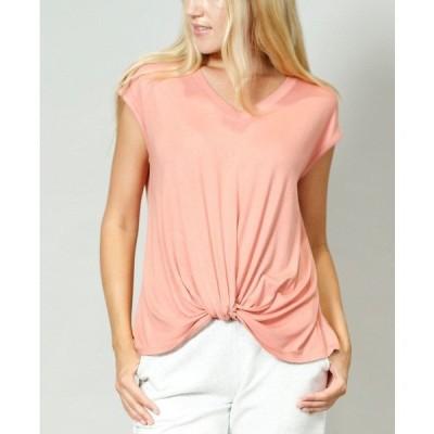 コイン1804 カットソー トップス レディース Women's V-Neck Twist Front T-shirt Peach