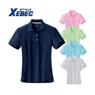ジーベック XEBEC 6000 レディース半袖ポロシャツ ピンク 通年 秋冬用 女性用 婦人用 作業服 作業着