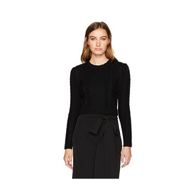 MILLY Women's Cropped Aran Stitch Sweater, Black, M並行輸入品 送料無料
