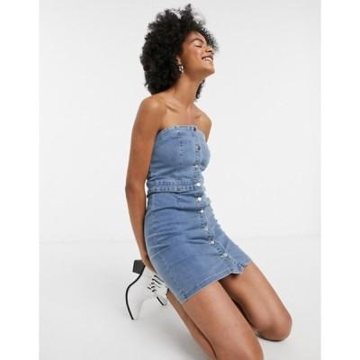 エモリー パーカー レディース ワンピース トップス Emory Park midi strapless dress with button down front in denim