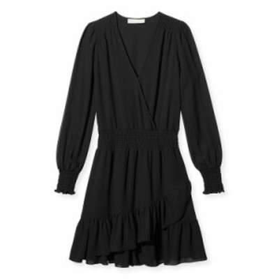 マイケルコース レディース ワンピース トップス Smocked-Waist Solid Ruffle Dress BLACK