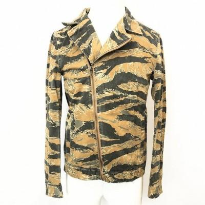 YEVS イーブス S メンズ ライダースジャケット ブルゾン タイガーカモ 迷彩柄 2段階ジップ 長袖 綿100% イエローブラウン系×グレー系など