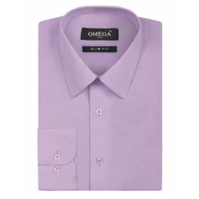 ファッション ドレス Omega Italy Mens Premium Slim Fit Button Up Long Sleeve Solid Color Dress Shirt