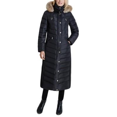 マイケルコース コート アウター レディース Faux-Fur Hooded Maxi Puffer Coat Black