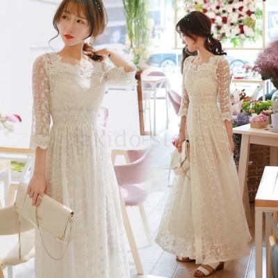新作 ドレス 二次会 花嫁 ウェディングドレス ロングドレス 演奏会 イブニングドレス パーティードレス レースワンピース 白 ホワイト