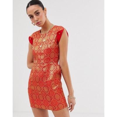 ネサヴァリ ミディドレス レディース Nesavaali capped sleeve jacquard mini dress エイソス ASOS レッド 赤