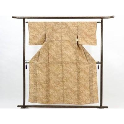 【中古】リサイクル小紋 / 正絹茶色地単衣小紋着物(古着 中古 小紋 リサイクル品)