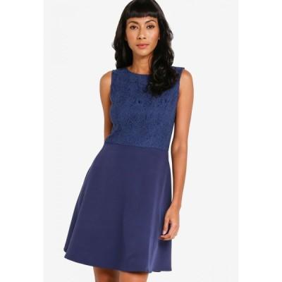 ザローラ ZALORA BASICS レディース パーティードレス ワンピース・ドレス Lace Block Fit & Flare Dress Navy