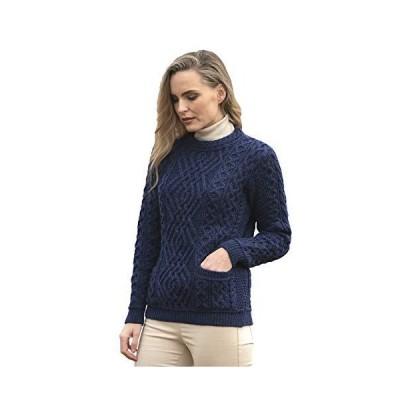 並行輸入品Aran Crafts レディース アイリッシュケーブルニット2ポケットセーター (100%メリノウール) US サイズ: Medium カ