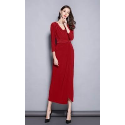 パーティー ドレス ワンピース ロング丈 七分袖 Vネック ツイストウエスト スリム mme4353