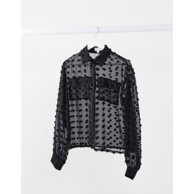 インザスタイル レディース シャツ トップス In The Style x Saffron Barker textured oversized sheer shirt in black Black
