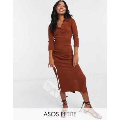 エイソス ASOS Petite レディース ワンピース ワンピース・ドレス ASOS DESIGN Petite knitted dress with collar detail in brown ブラウン