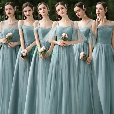 緑ドレス 結婚式 ワンピース 袖あり パーティードレス ロングドレス お呼ばれ ロング丈 グレードレス レディース フォーマル