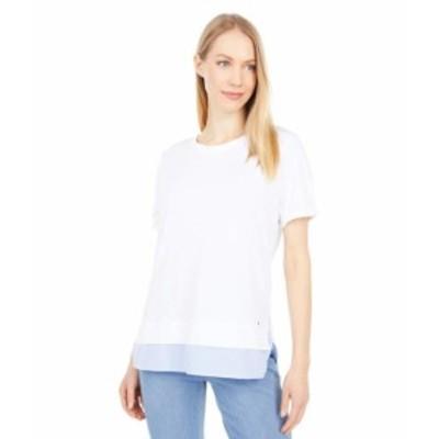 トミー ヒルフィガー レディース シャツ トップス Mixed Media Stripe Top Bright White