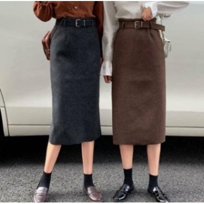 2色 スカート ロング ミモレ丈 タイト ハイウエスト スリット ベルト付き 大人可愛い カジュアル 韓国 オルチャン ファッション