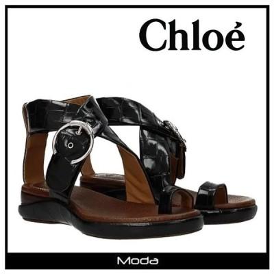 クロエ サンダル レディース Chloe 靴 黒 ブラック クロスベルト フラット