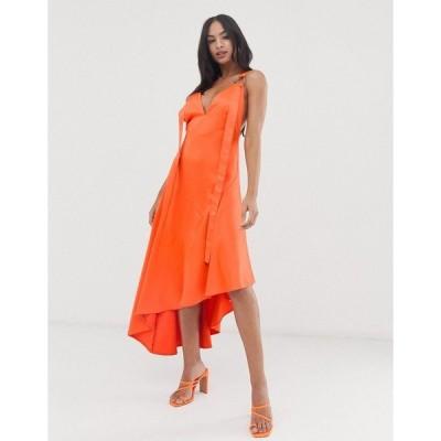 エイソス レディース ワンピース トップス ASOS DESIGN minimal midaxi dress with satin panel and tab ring detail Blood orange