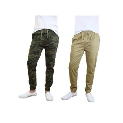 ギャラクシーバイハルビック カジュアルパンツ ボトムス メンズ Men's Basic Stretch Twill Joggers, Pack of 2 Camouflage, Khaki