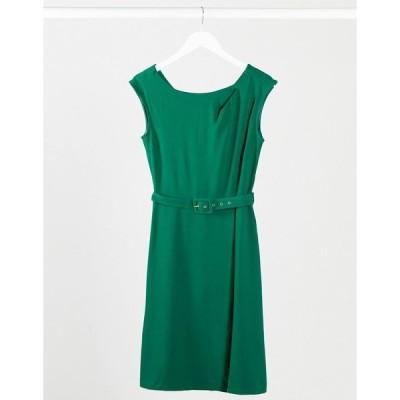 クローゼットロンドン レディース ワンピース トップス Closet wrap skirt A-line dress in green Green