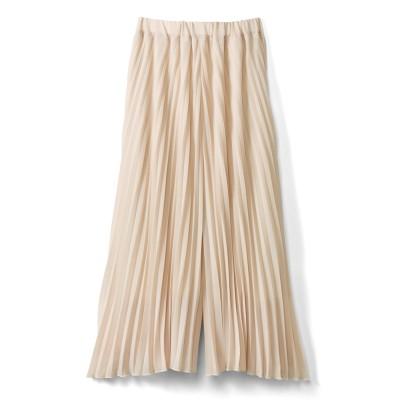 吸汗速乾裏地付き しなやかプリーツスカート見えパンツ〈ライトベージュ〉 IEDIT[イディット] フェリシモ FELISSIMO