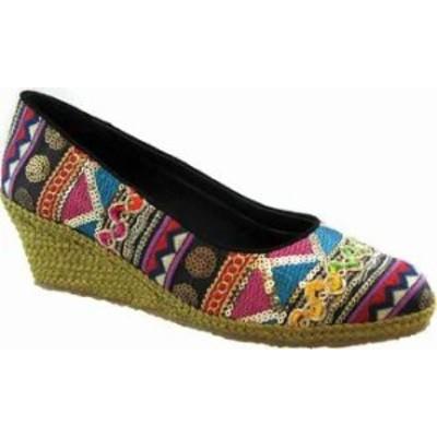 Beacon Shoes レディースシューズ Beacon Shoes Exotic Espadrille Wedge Black Mu