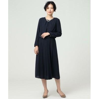 UNTITLED/アンタイトル 【洗える】バックサテンアムンゼン プリーツワンピース ブルー系(094) 02(M)