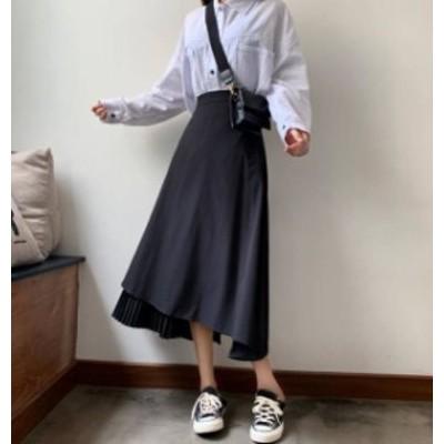 スカート ロング アシンメトリー プリーツ ハイウエスト フレア 大人可愛い カジュアル 韓国 オルチャン ファッション