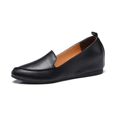 [Nomioce] レディースシューズ ナースシューズ レディース安全靴 パンプス ウォーキングシューズ 通勤 モカシン(黒8 25.0 cm)