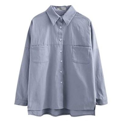 麻 シャツ レディース 綿 ブラウス 長袖 スリット 白 森ガール トップス ゆったり ポケット シンプル(s2111133352)
